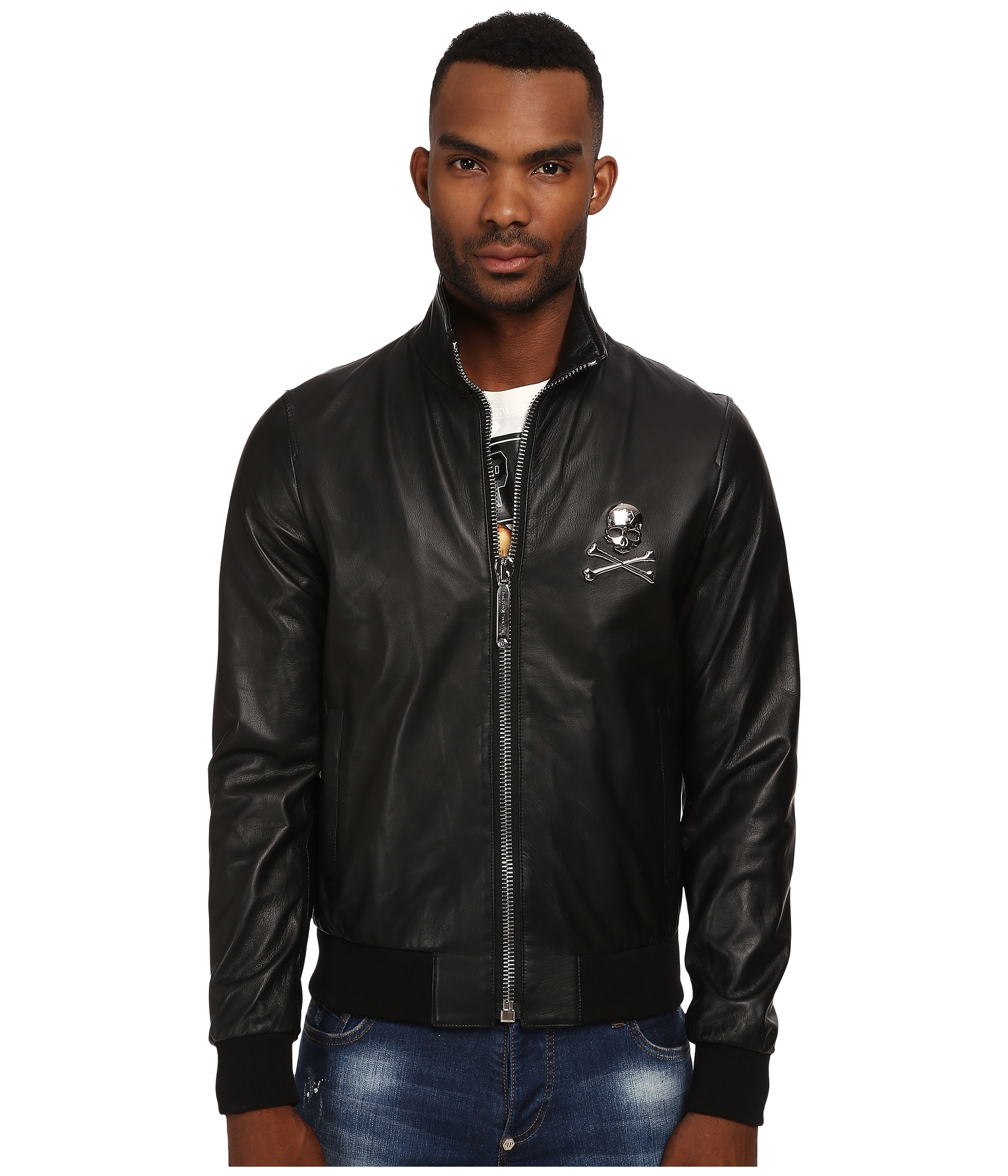 philipp plein stone leather jacket in black for men lyst. Black Bedroom Furniture Sets. Home Design Ideas