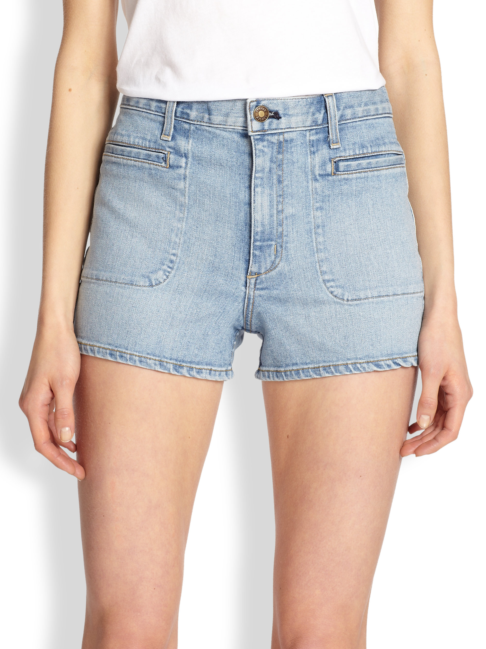 Theory Brendan Stretch Denim Shorts in Blue | Lyst