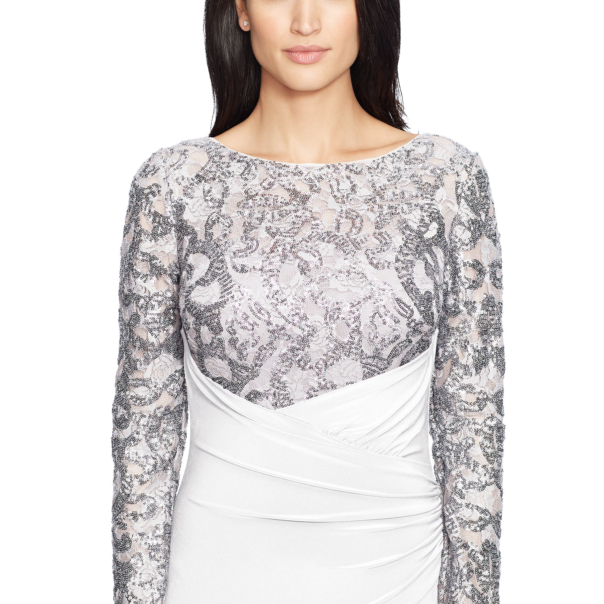 Lyst - Ralph Lauren Sequined-bodice Jersey Gown in White