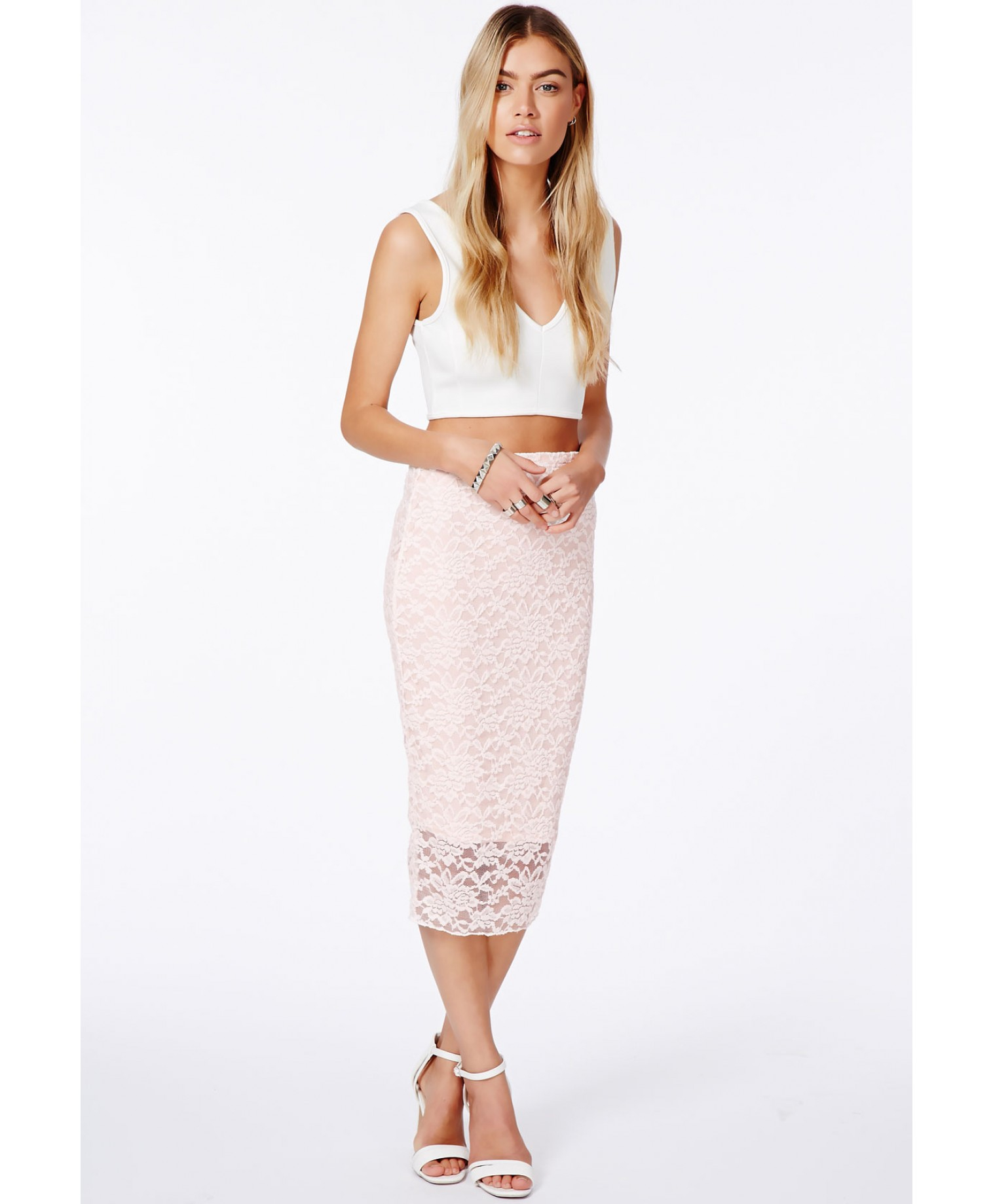 f7477cab9 Missguided Graciana Nude Lace Midi Skirt in Pink - Lyst