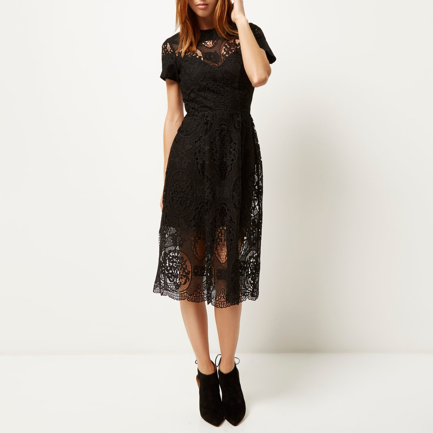 Womens Black lace frill waisted dress River Island xyInpR