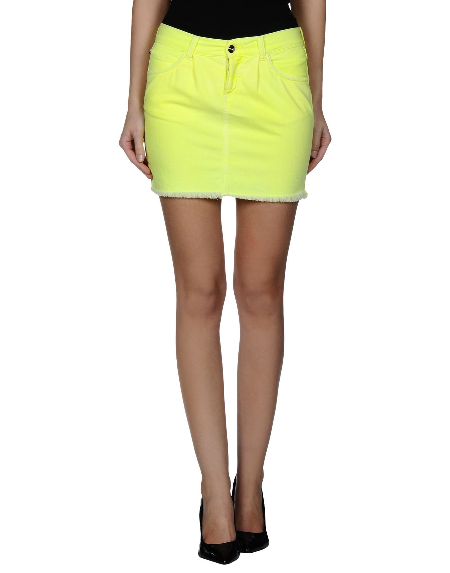 who s who denim skirt in green yellow lyst