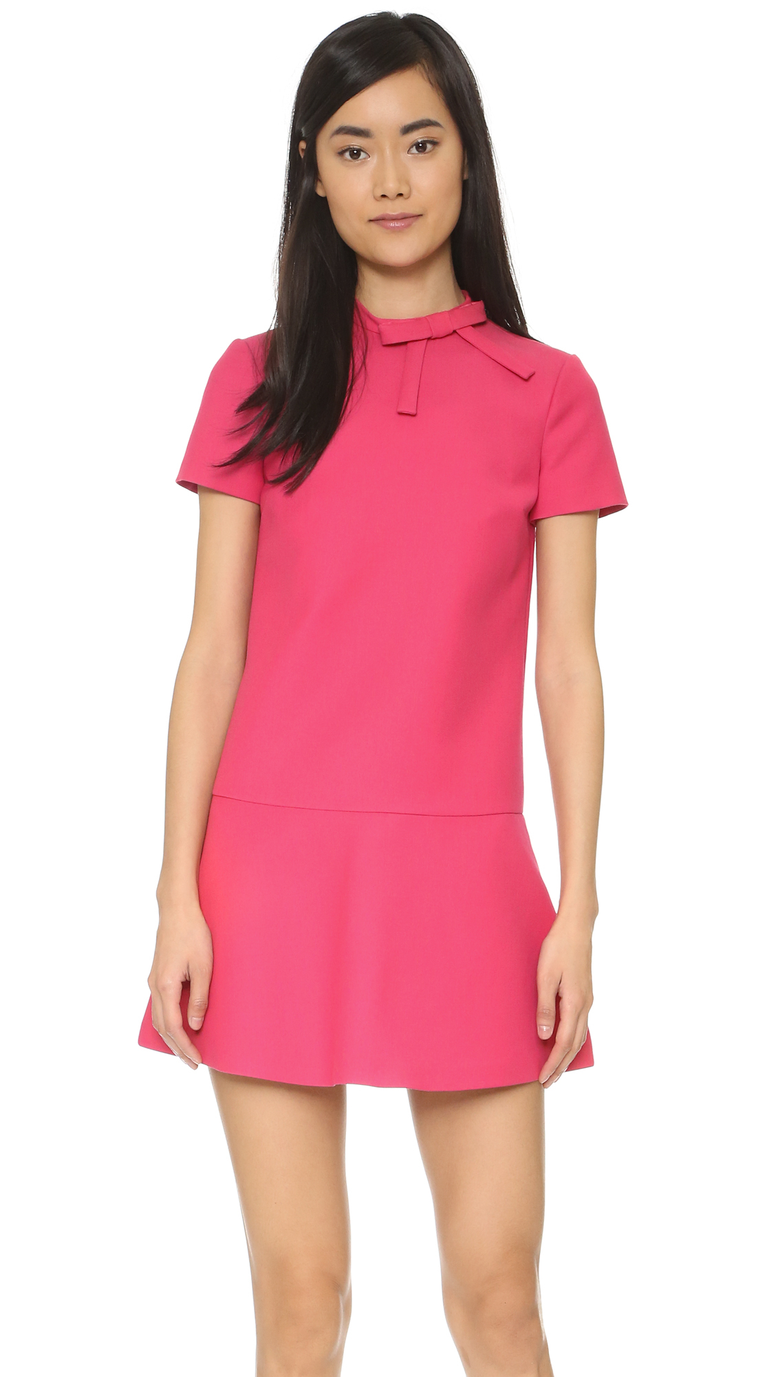 lyst red valentino short sleeve bow dress in purple