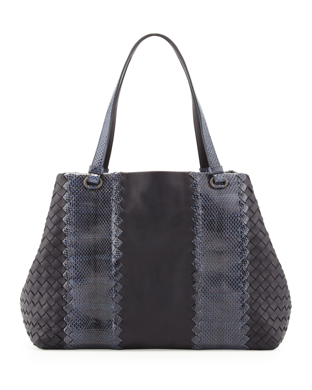 bottega veneta snake napa leather tote bag in gray