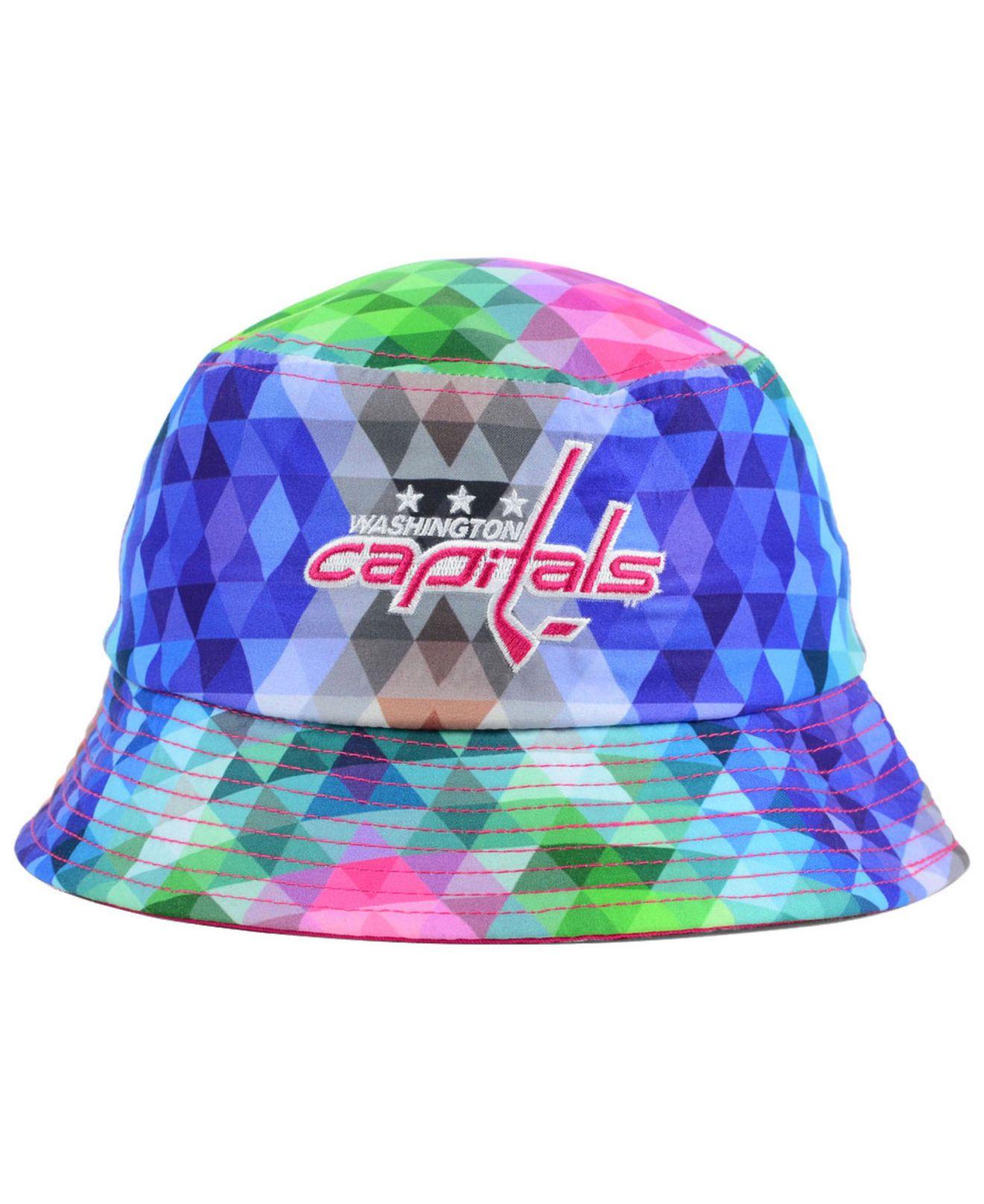 low priced 651d2 64e6e ... discount lyst ktz girls washington capitals gem bucket hat in blue  0c4df aa73e ...