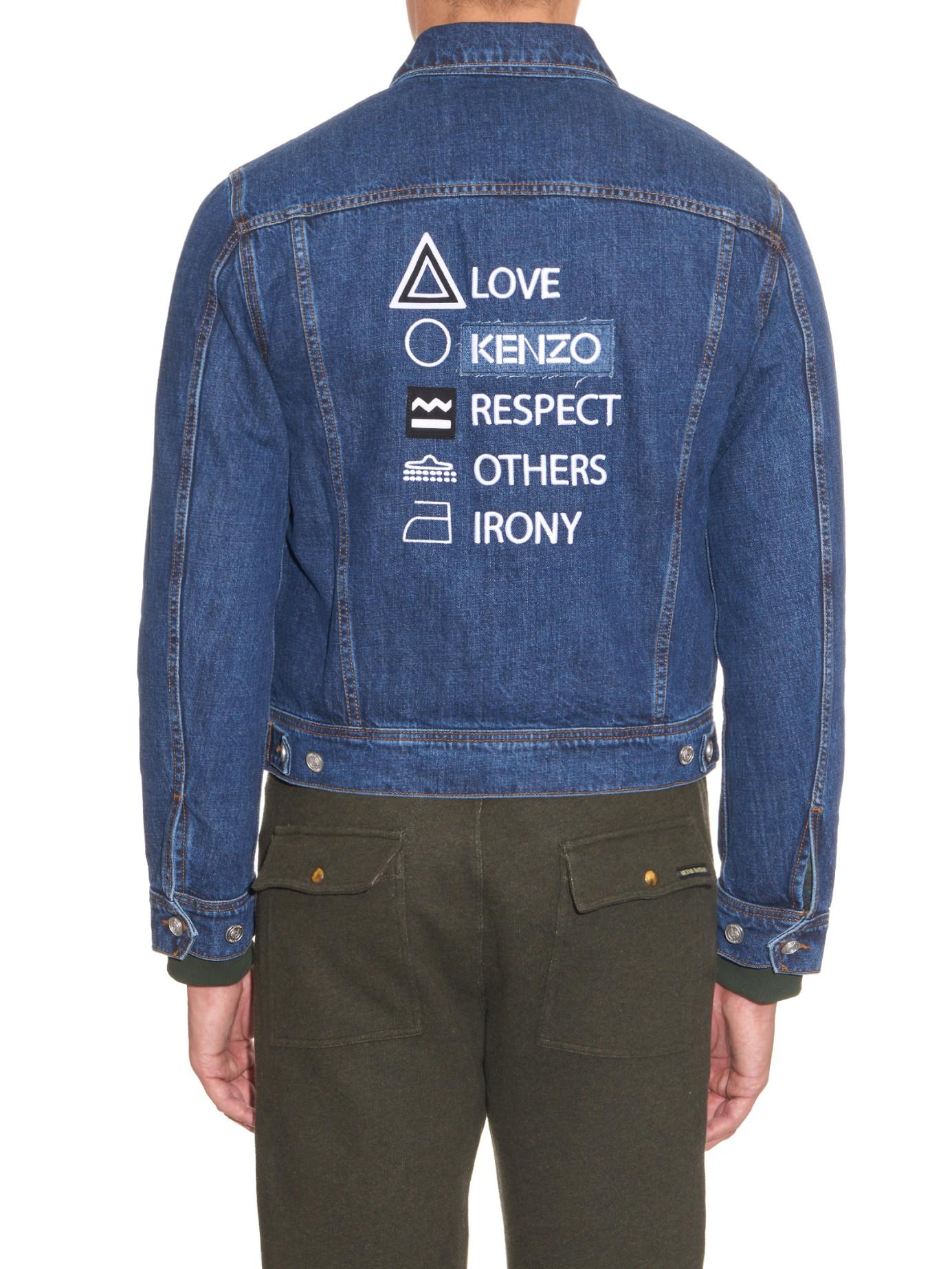 Kenzo Embroidered Back Denim Jacket In Blue For Men Lyst
