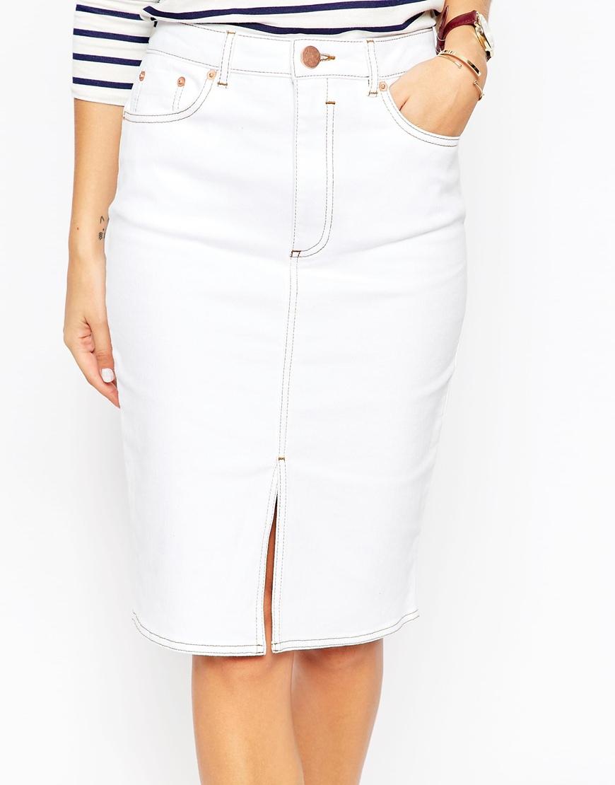 asos denim split front midi pencil skirt in white in white