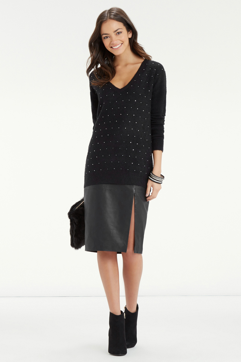 c8cb3de81ff6 Oasis Studded V Neck Jumper in Black - Lyst
