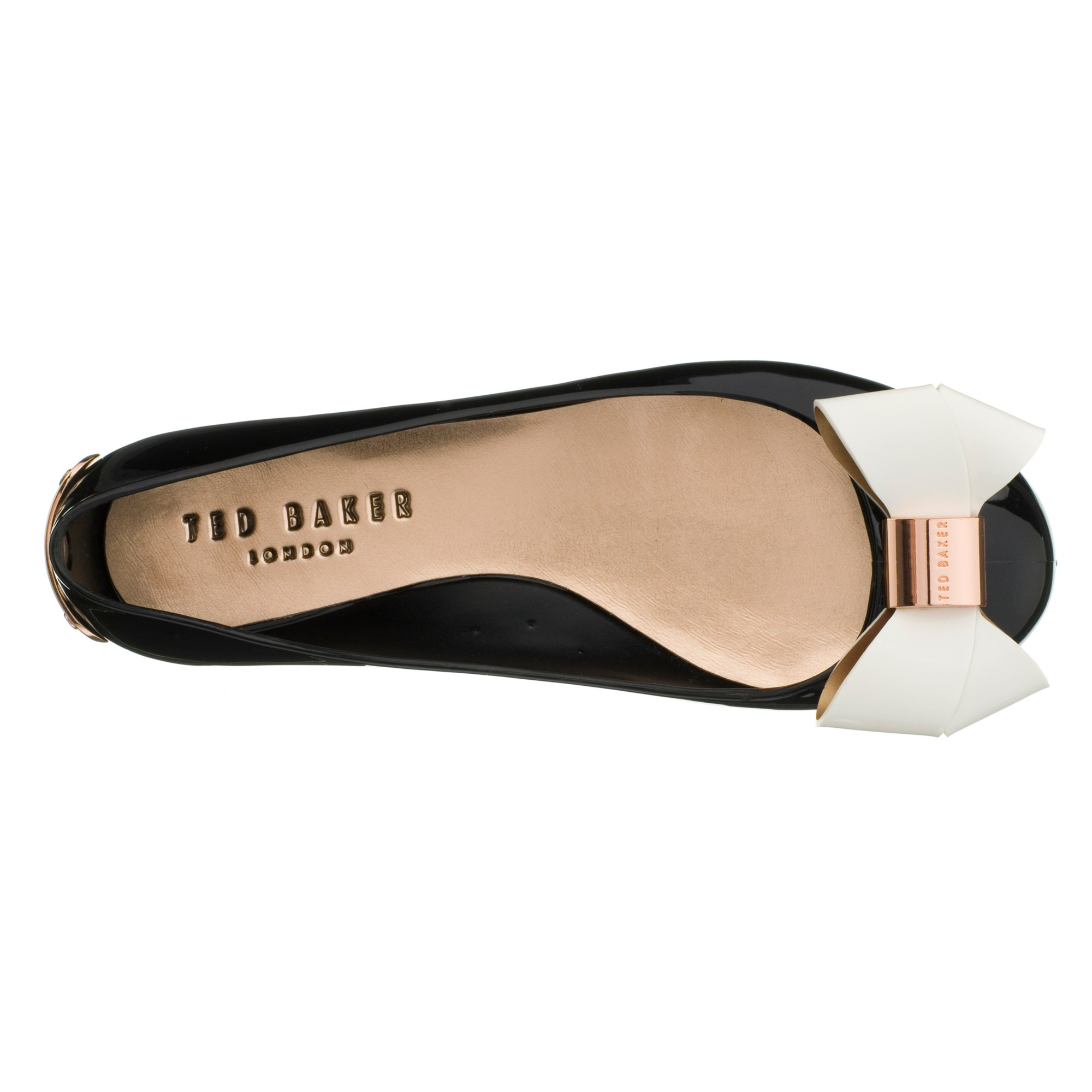8f07e4cbfd19 Ted Baker Faiyte Large Bow Jelly Flat Pumps in Black - Lyst