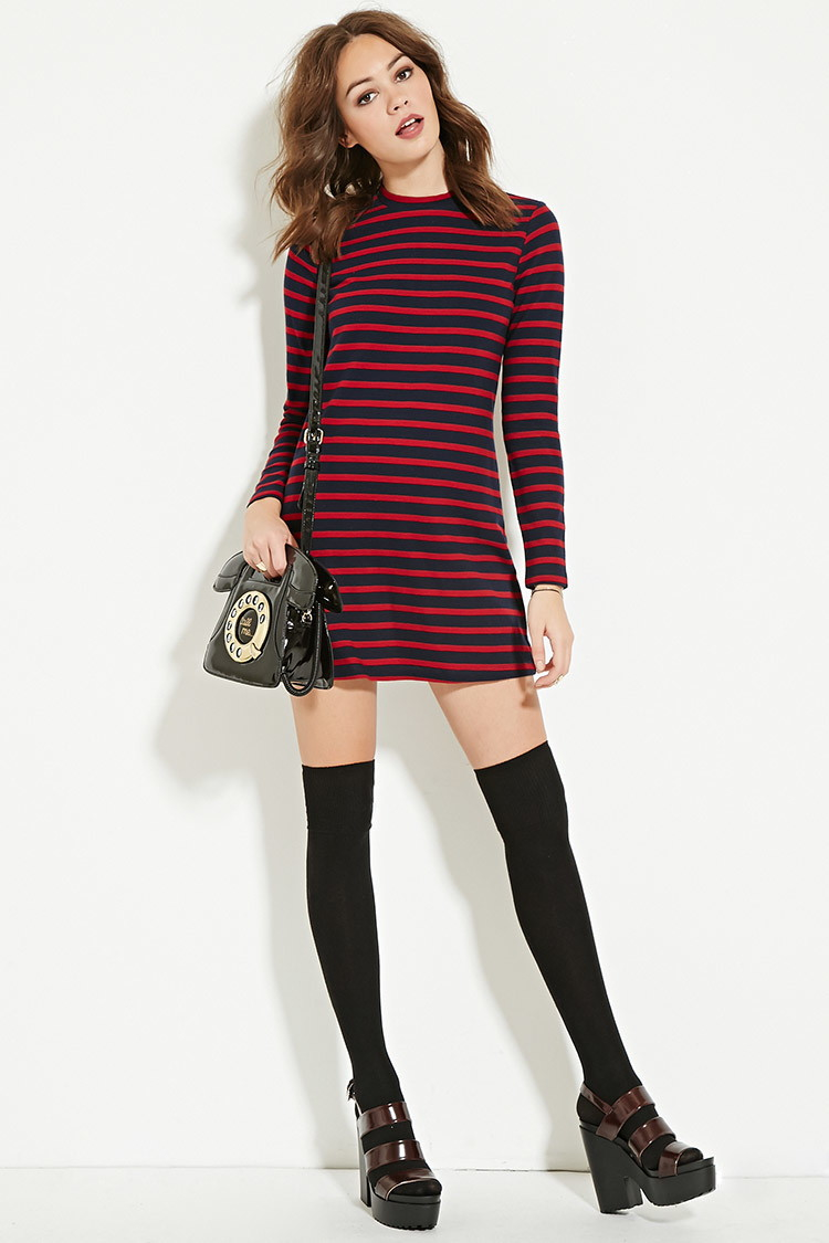 Striped Sweater Dresses with Boots