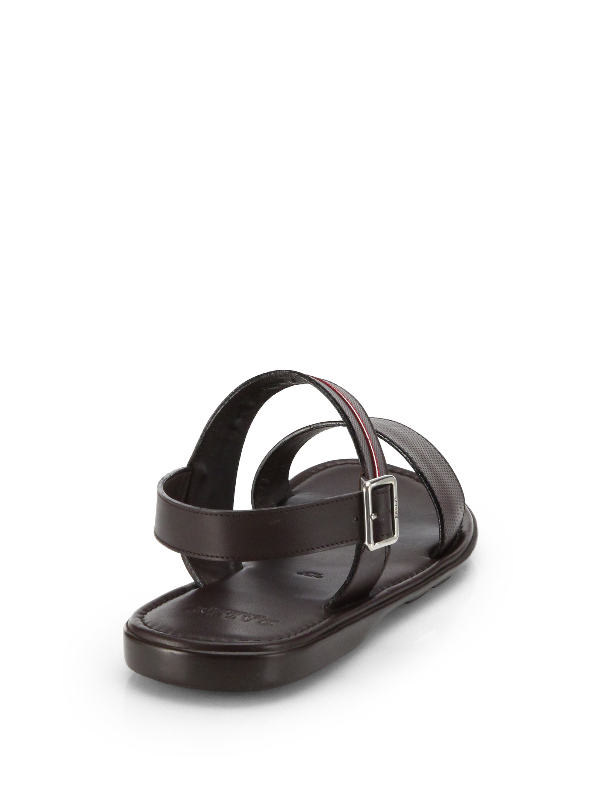 2bfb71b7f9b32d Lyst - Bally Perforated Leather Sandals in Brown for Men