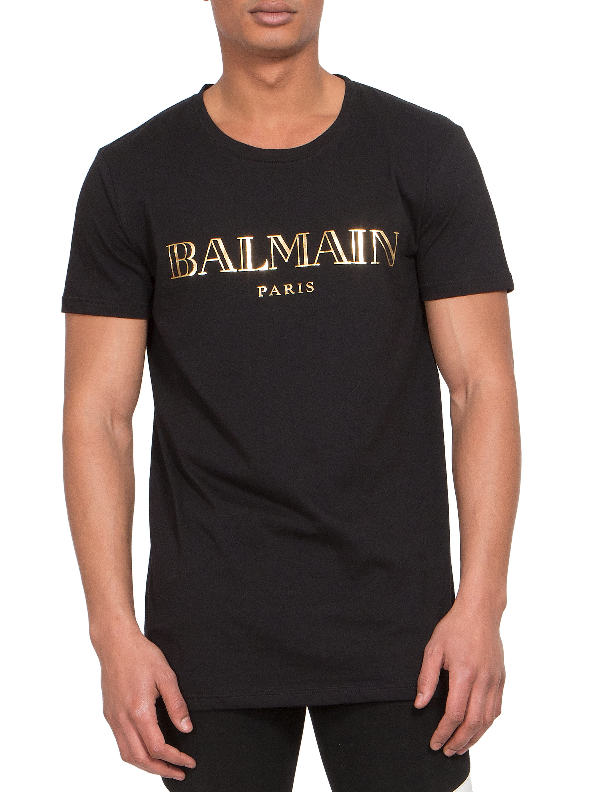 balmain logo print cotton jersey tee in black for men lyst. Black Bedroom Furniture Sets. Home Design Ideas