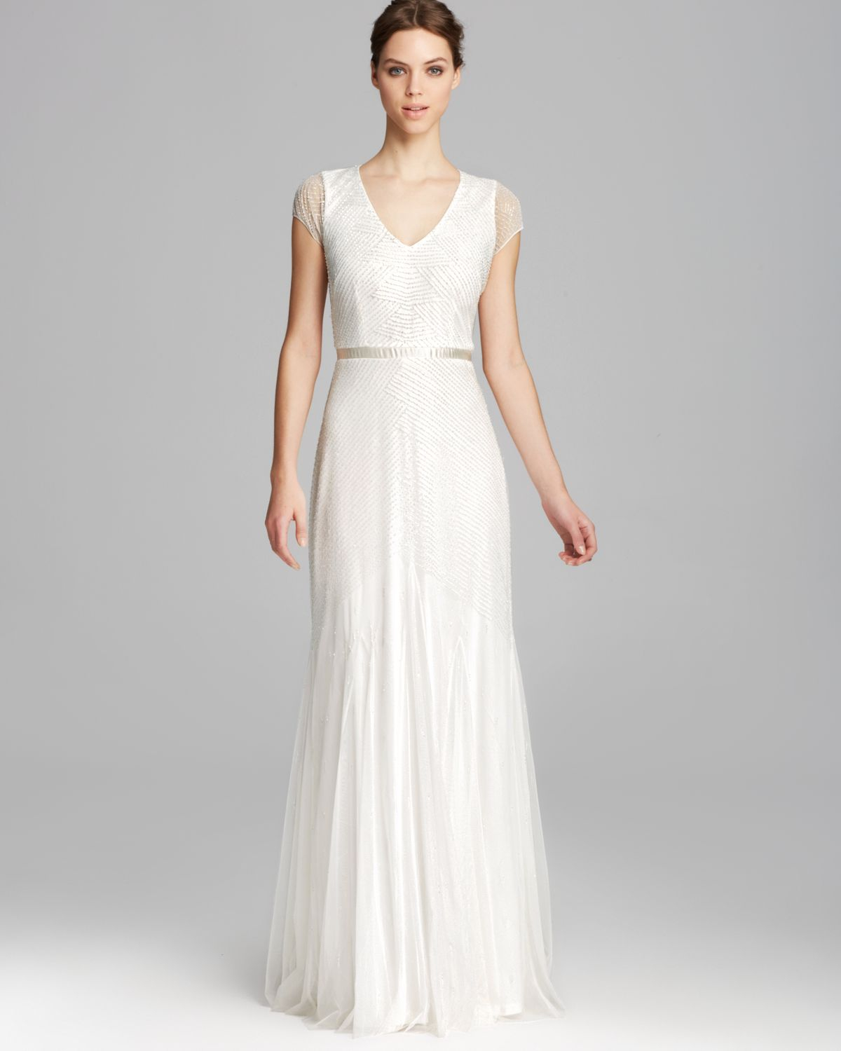 Lyst - Adrianna Papell Gown - Cap Sleeve V Neck Beaded in White