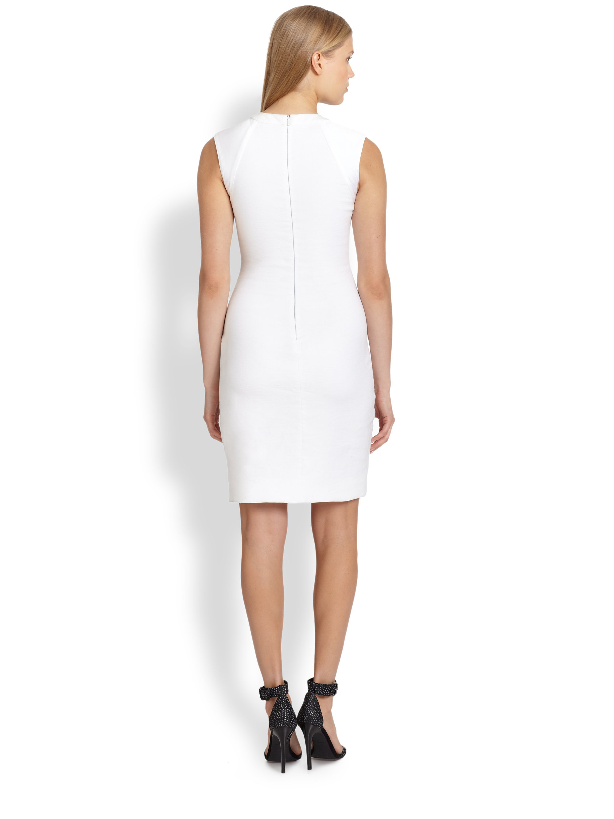 8db2b859 Lyst - L'Agence Satintrimmed Ruched Stretch Cotton Linen Dress in White