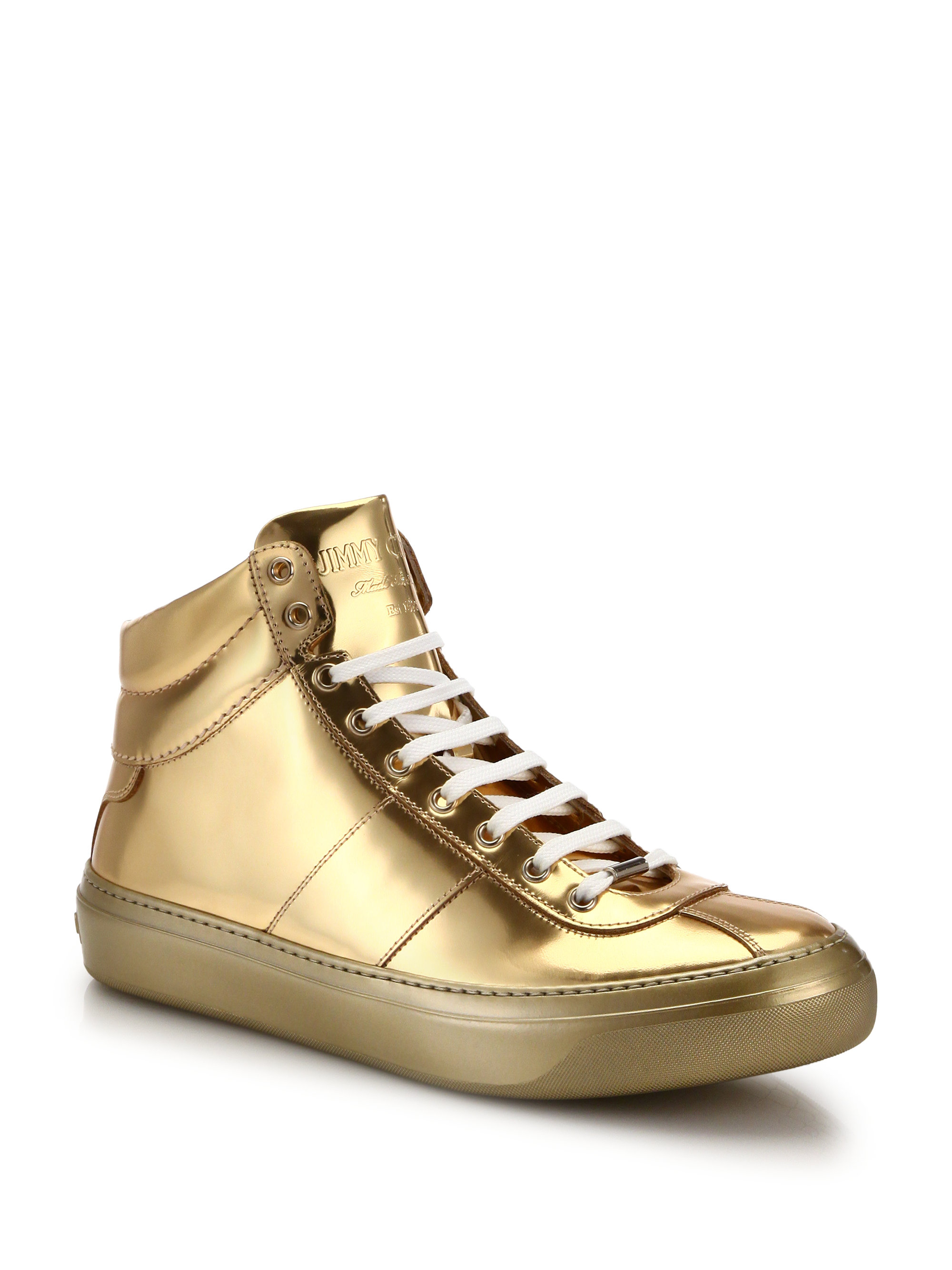 Lyst Jimmy Choo Belgrave Metallic High Top Sneakers In Metallic