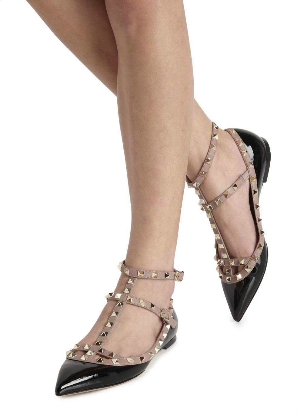 fd4bfea0b3e5a Valentino Rockstud Leather Flats in Black - Lyst