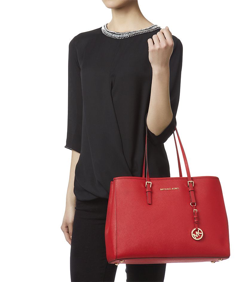 fa2bac810f1b MICHAEL Michael Kors Large Jet Set Travel East West Tote in Red - Lyst