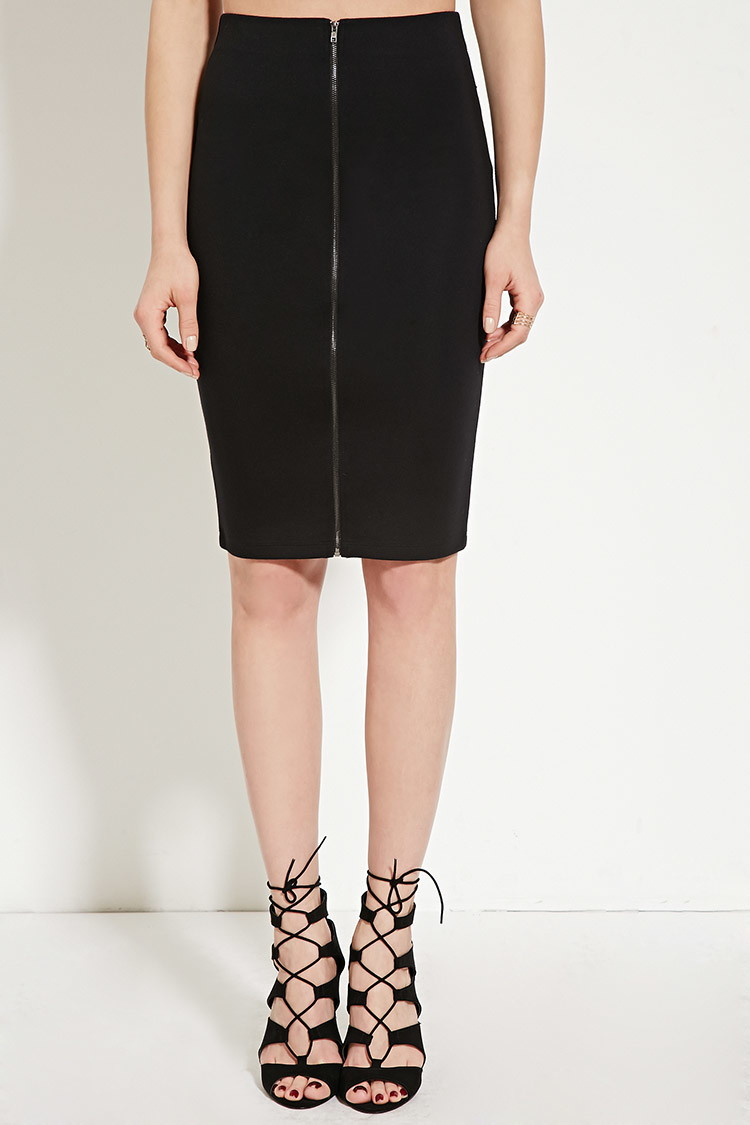 c2e5f576c Forever 21 Zip-front Pencil Skirt in Black - Lyst