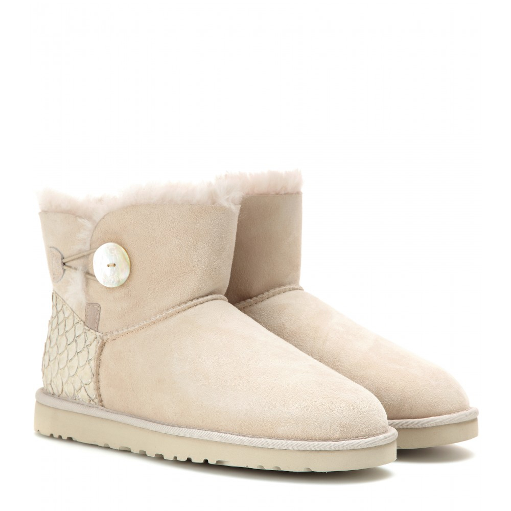 ... Ugg Mini Bailey Button Boots in Natural - Lyst ...