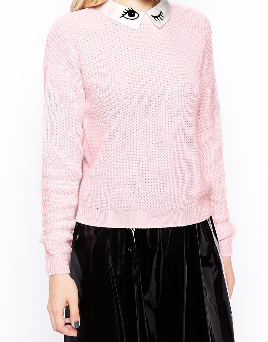 Asos Jumper With Embroidered Eyes And Detachable Collar in Pink | Lyst