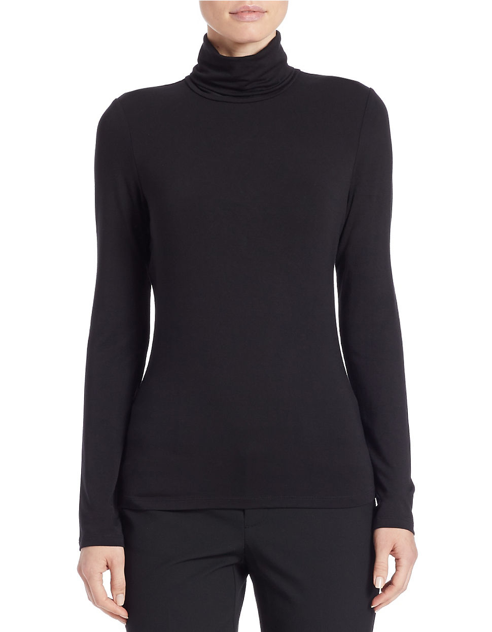 Lord Taylor Petite Fitted Turtleneck In Black Lyst