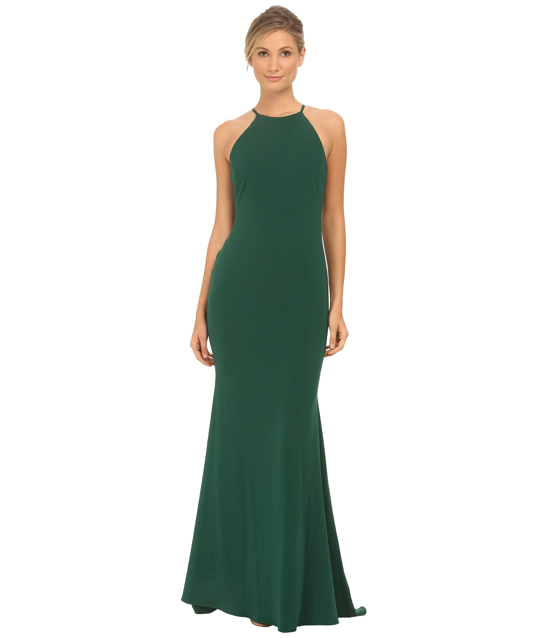 Lyst - Badgley Mischka Stretch Crepe Halter Gown in Green