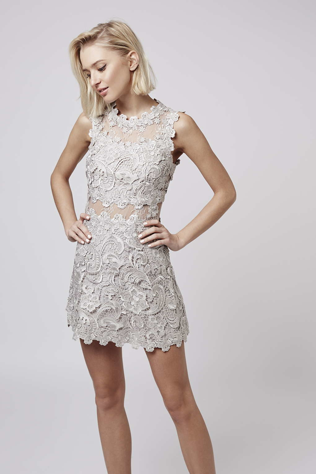 8d81e1ea85 TOPSHOP Petite Structured Lace Skater Dress in Metallic - Lyst