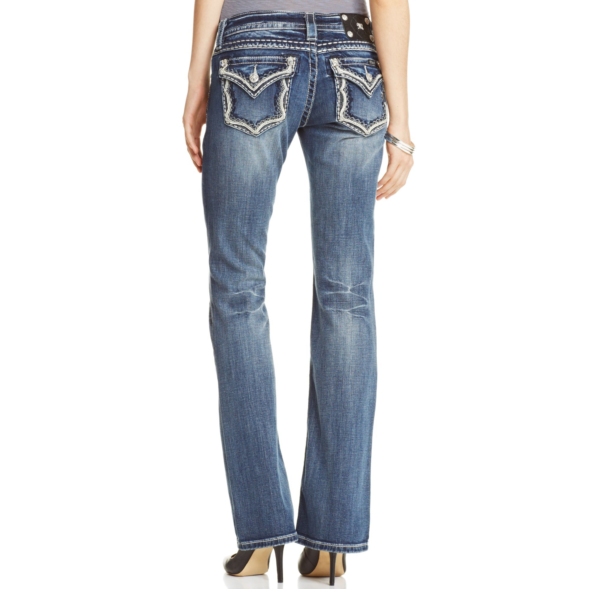 Miss me embroidered bootcut jeans in blue medium lyst
