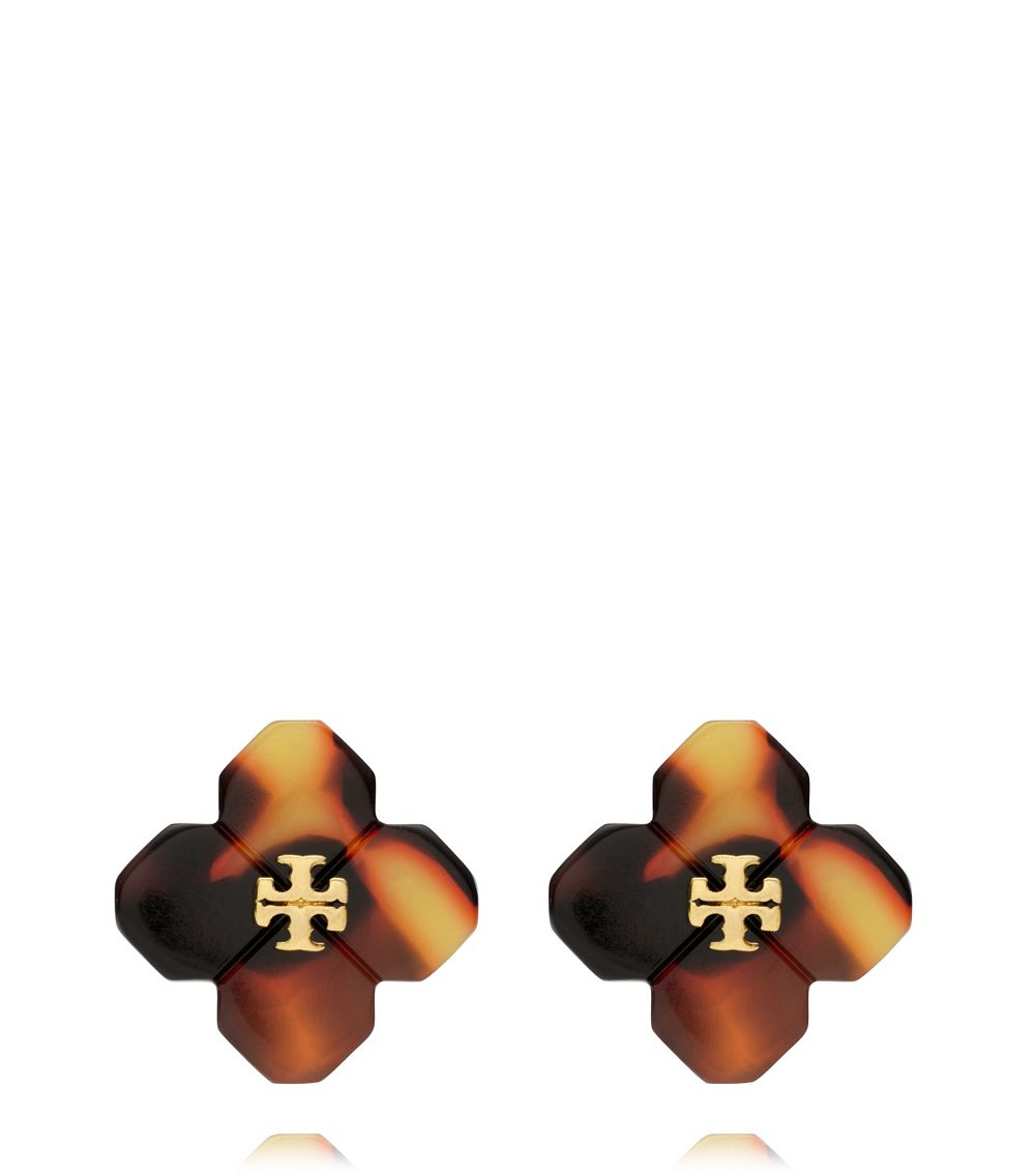 e1fe89ba0 Tory Burch Babylon Resin Stud Earring in Brown - Lyst