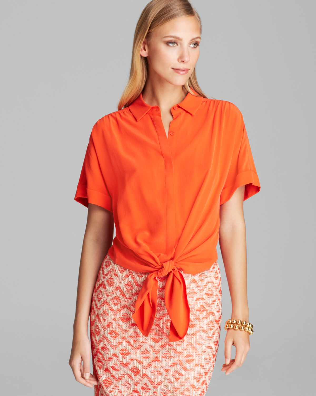 lafayette 148 new york elodie blouse in orange begonia lyst. Black Bedroom Furniture Sets. Home Design Ideas