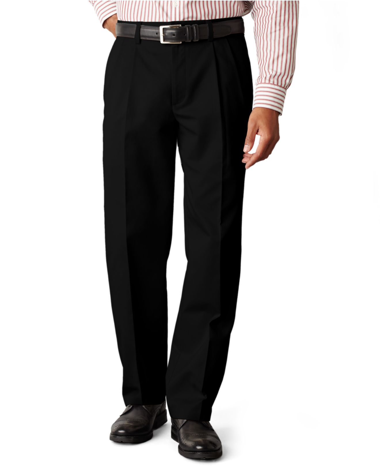 Browse men's pants to style with your workweek attire. Work pants for the nine-to-fiver are an essential building block of men's clothing. Complete the look with men's black pants or black slacks.