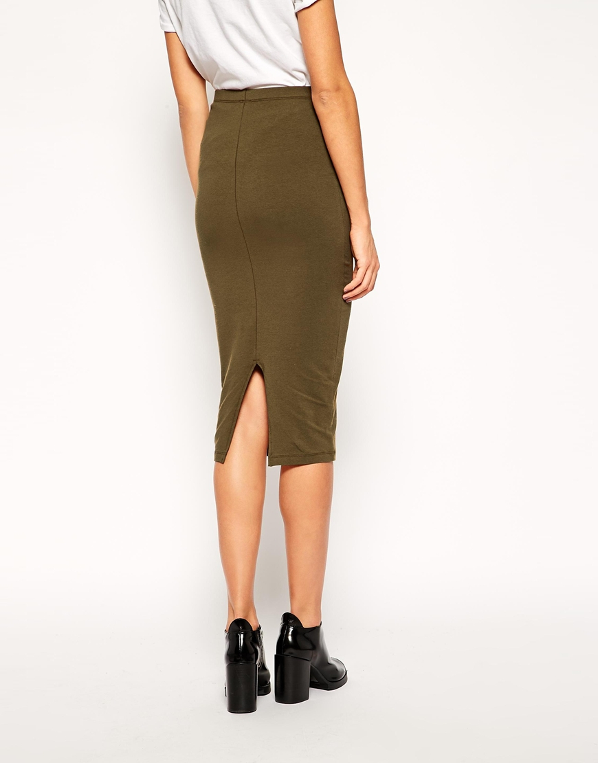 Asos Midi Pencil Skirt In Jersey in Natural | Lyst