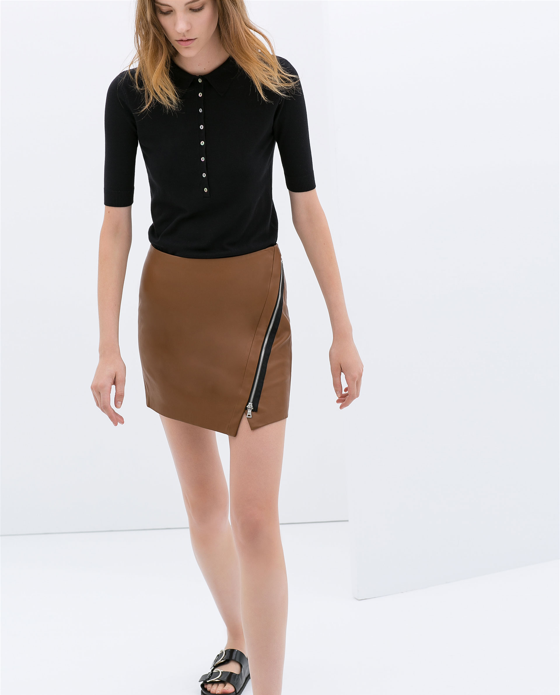 Zara Faux Leather Skirt with Zip in Brown | Lyst