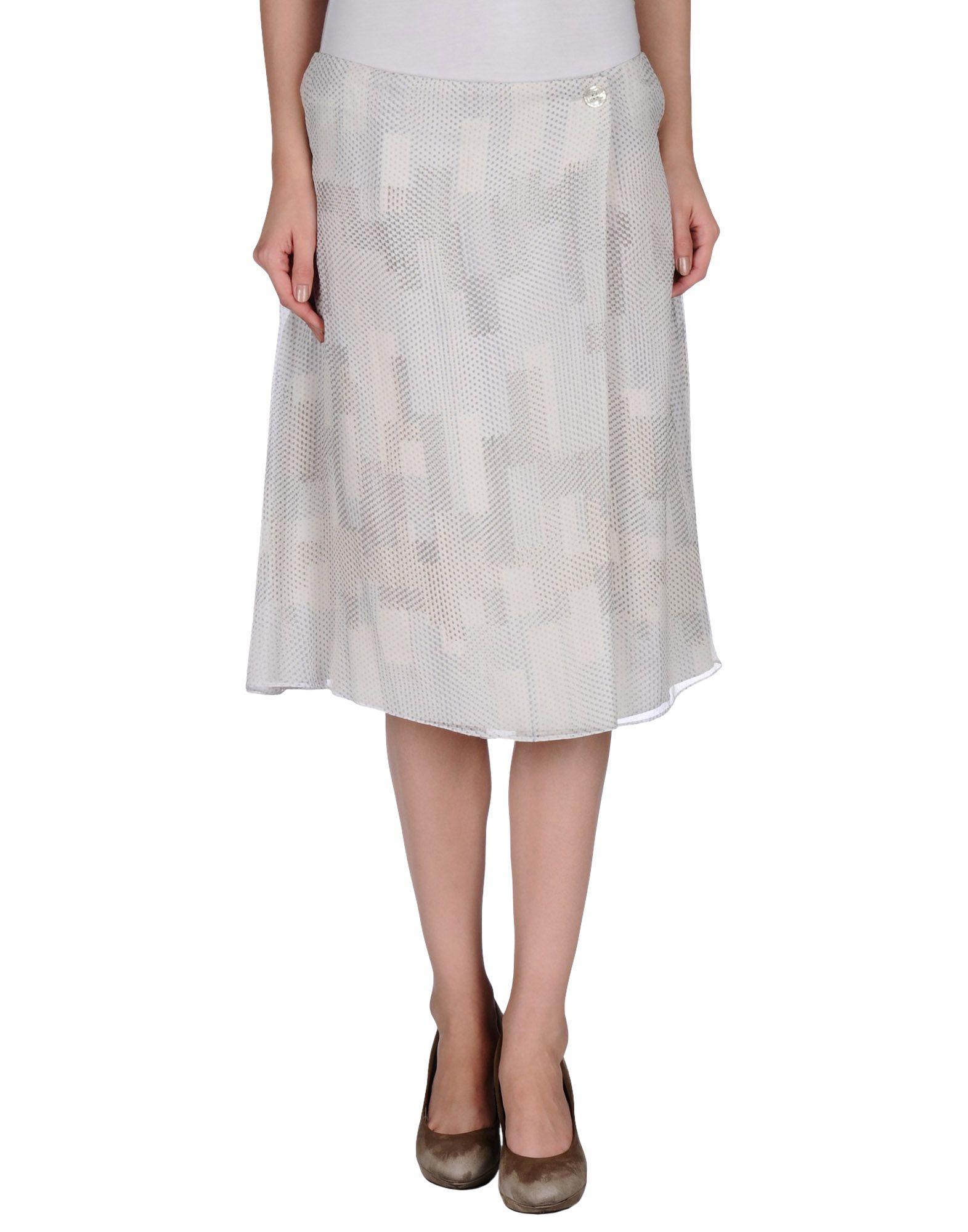armani knee length skirt in gray lyst
