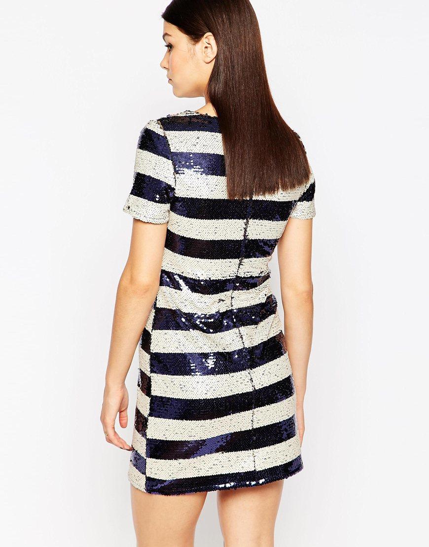 Club l Shift Dress In Two Tone Sequin Stripe in Blue - Lyst