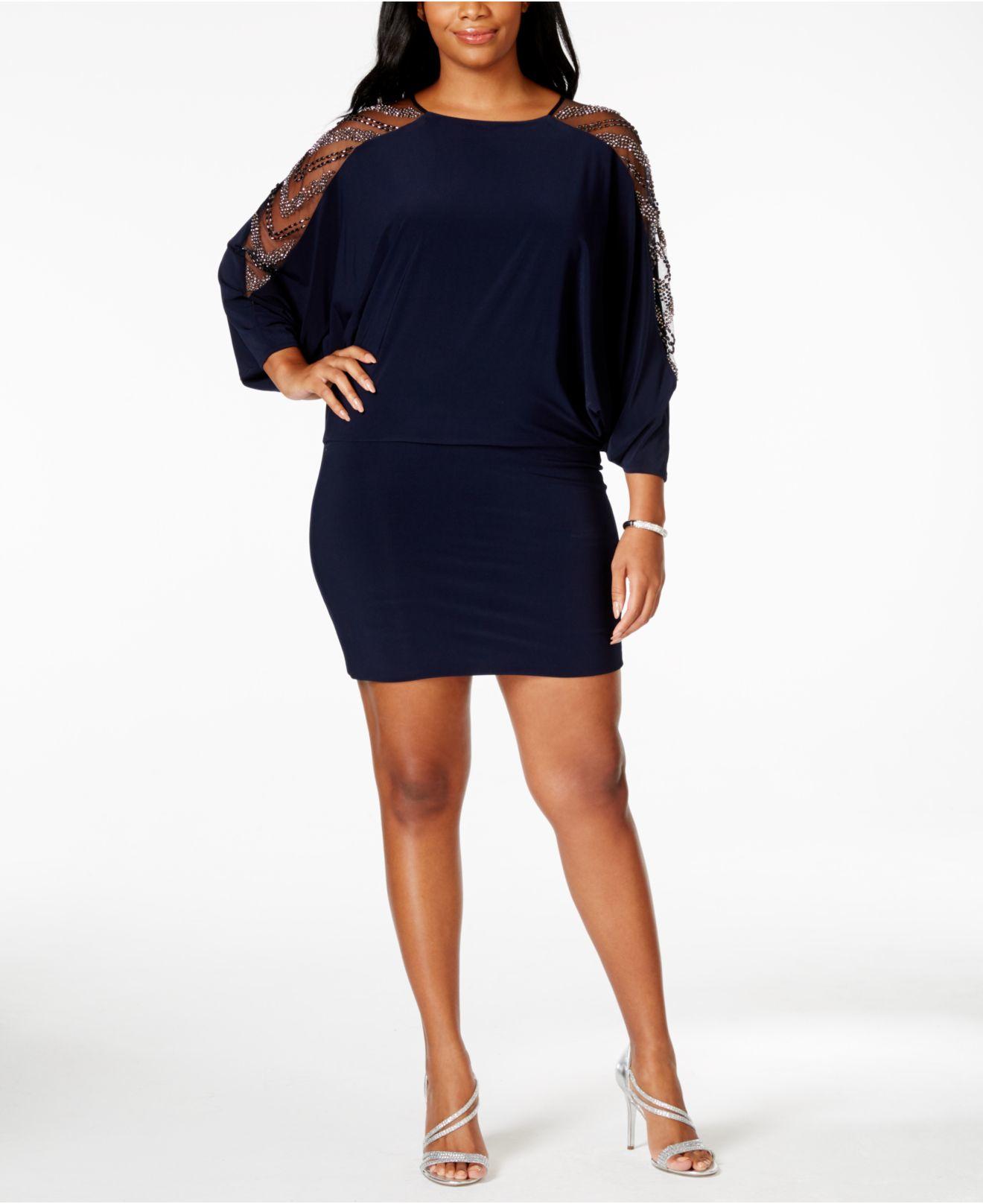 betsy & adam plus size embellished cold-shoulder dress in blue   lyst