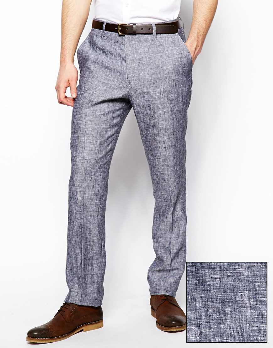 mens linen trousers skinny - ShopStyle UK