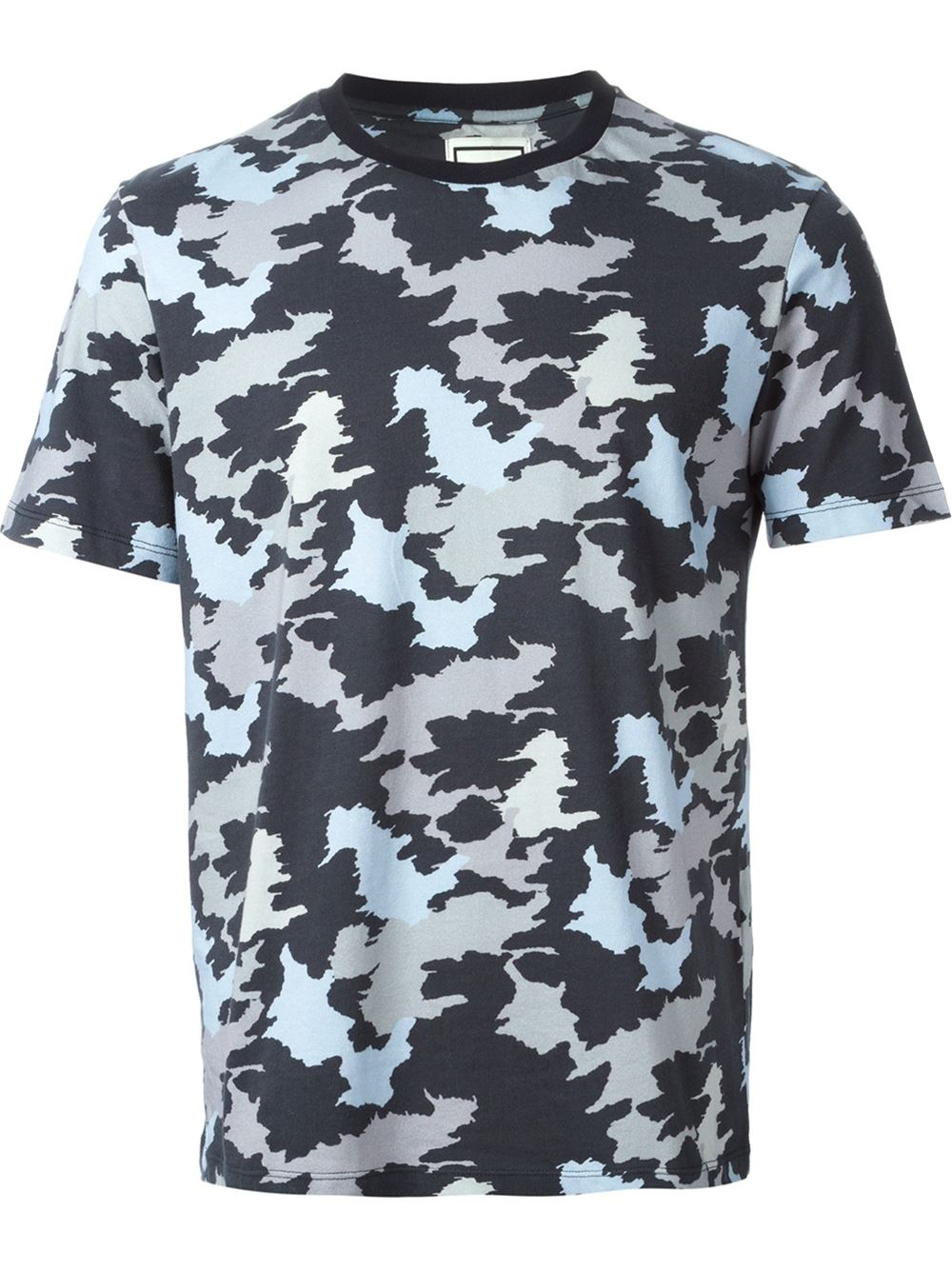 Wooyoungmi camouflage print t shirt in blue for men lyst for Camouflage t shirt printing
