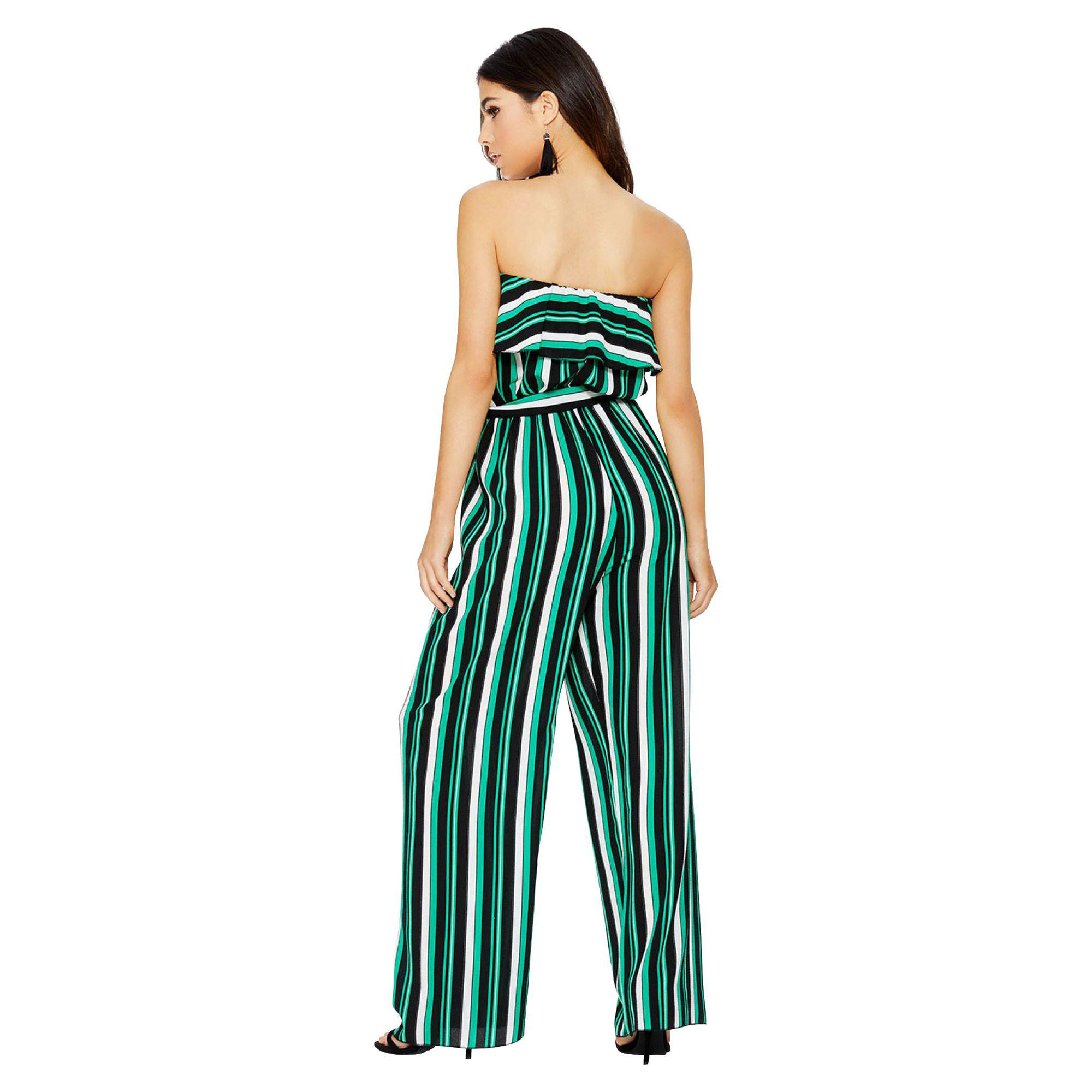 ebc7c5d71 Quiz Green Black And White Stripe Jumpsuit in Green - Lyst