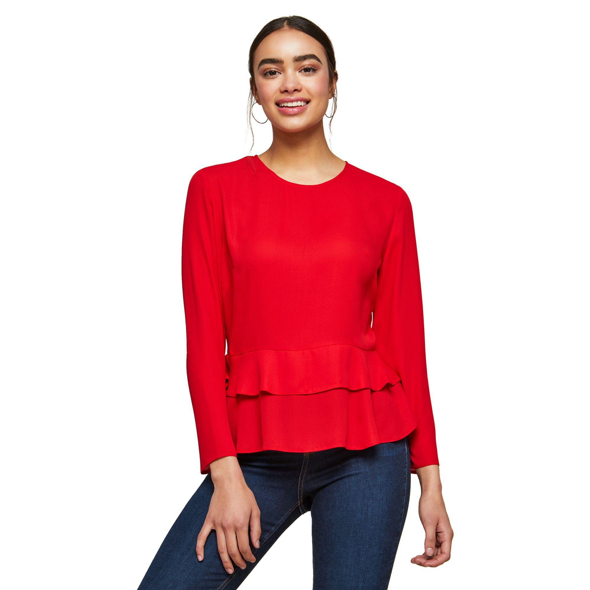 404d6cd268e Miss Selfridge Red Double Peplum Blouse in Red - Lyst