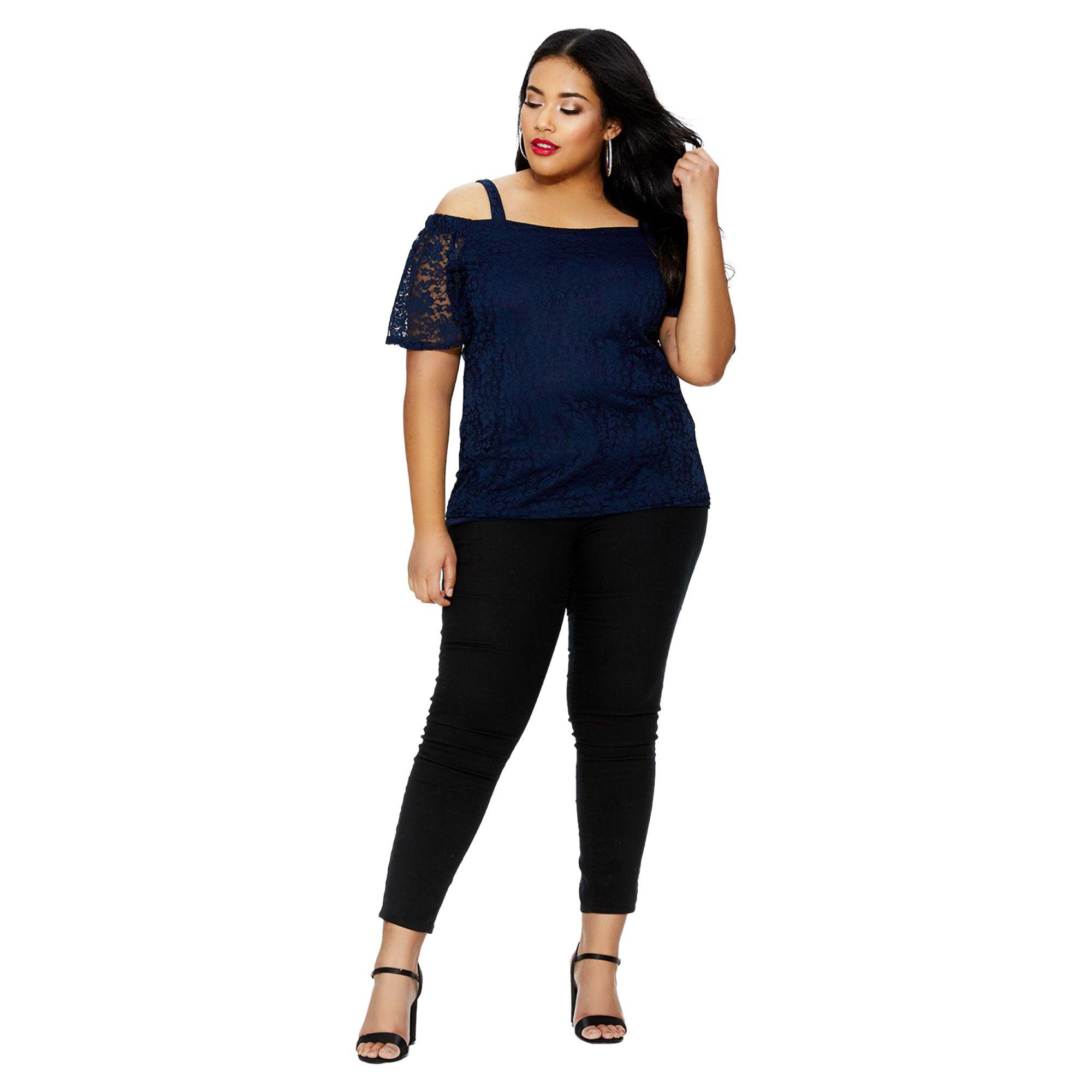 5aa7b703a93e15 Quiz Curve Navy Lace Cold Shoulder Top in Blue - Lyst