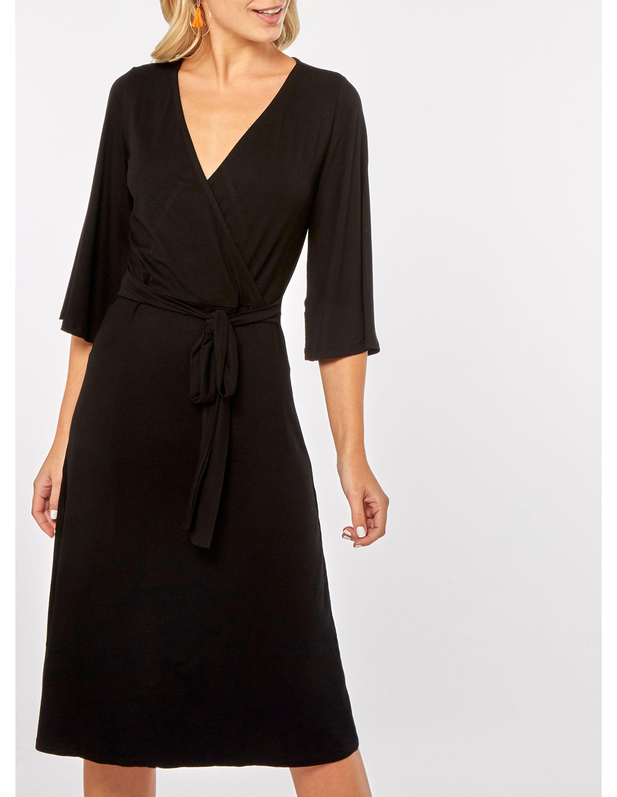 e00f726f9ff7 Dorothy Perkins Plain Black Midi Wrap Dress in Black - Lyst
