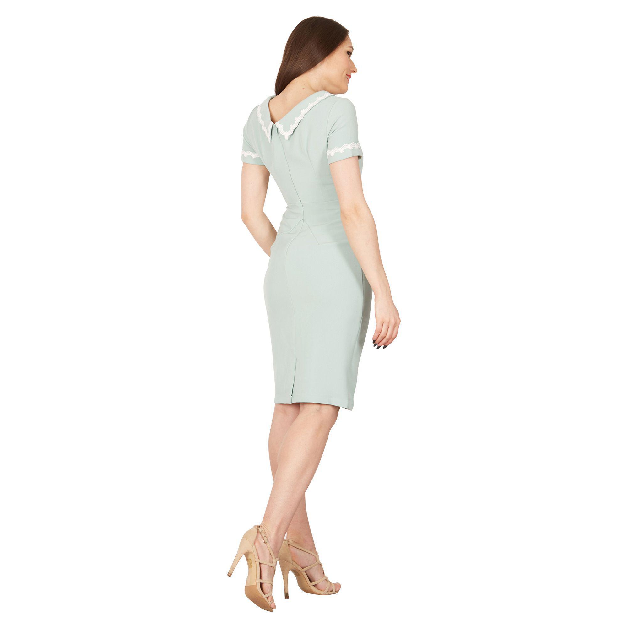 20da5d13e Jolie Moi - Light Green Short Sleeves Lace Trimmed Dress - Lyst. View  fullscreen