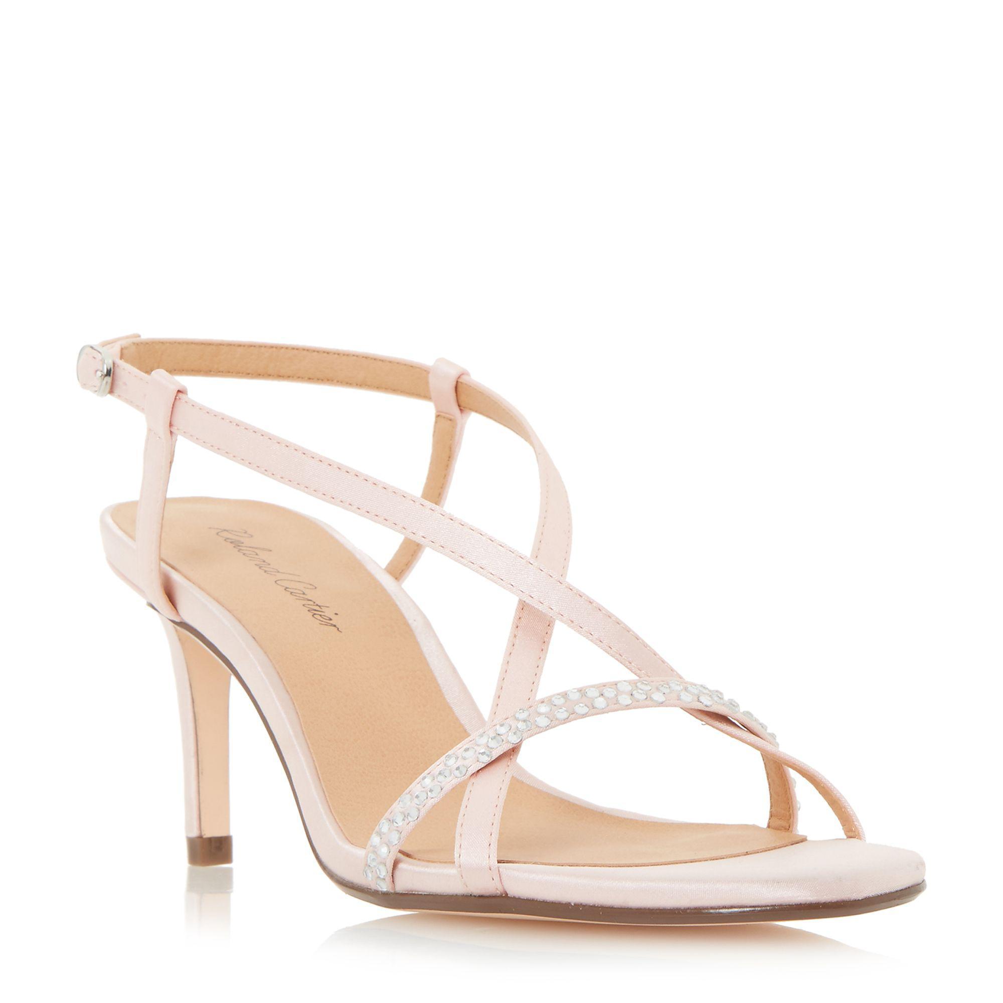 76c85630c83 Roland Cartier Pink  merryn  Diamante Strappy Mid Heel Sandals in ...