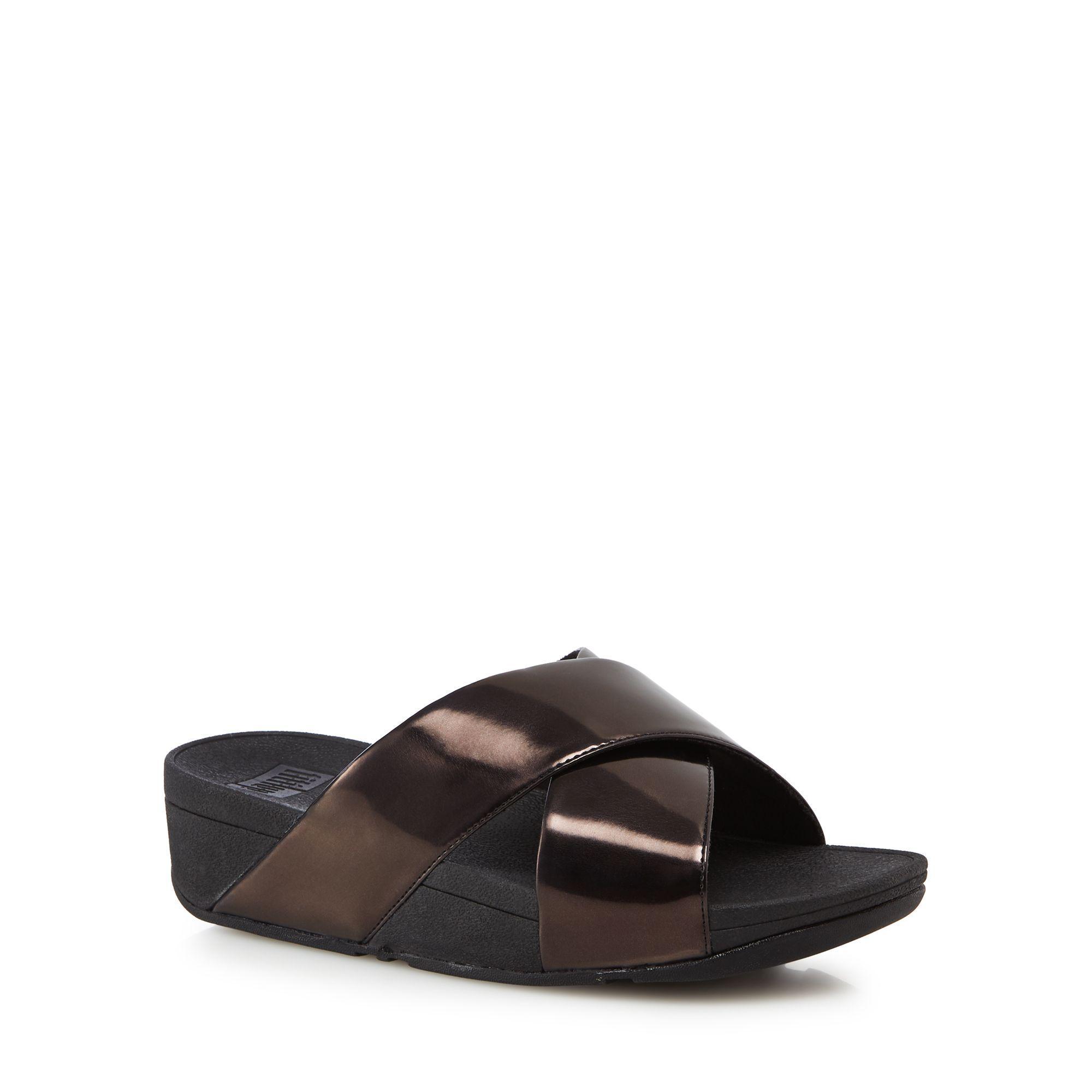 Black patent 'Lulu ' wedge heel cross slide sandals good selling 8ESYsFxD9o
