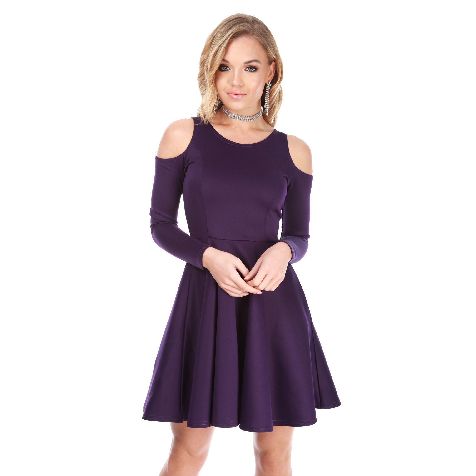 Be Jealous Purple Cold Shoulder Long Sleeves Skater Dress in Purple ... f200fc387