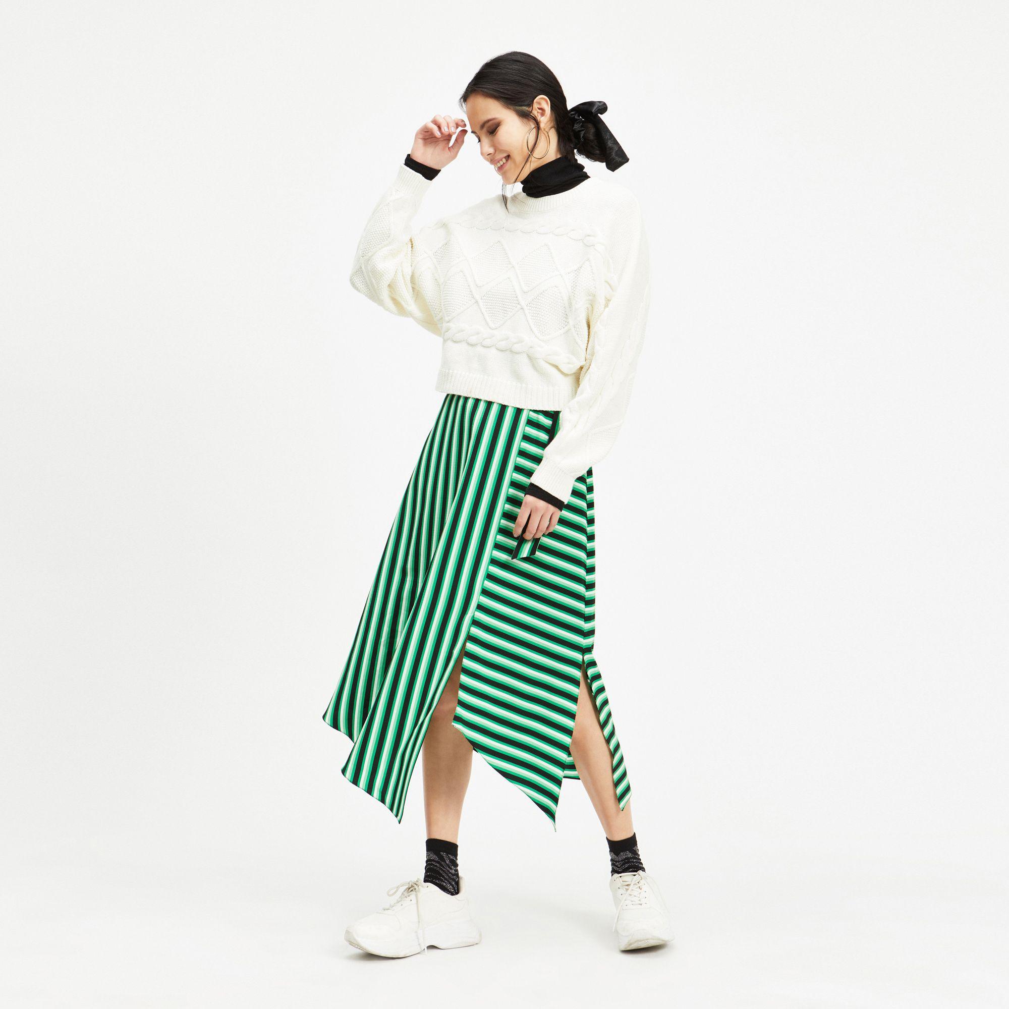 41b4be7bb8 Miss Selfridge Green Stripe Midi Skirt in Green - Save 20% - Lyst