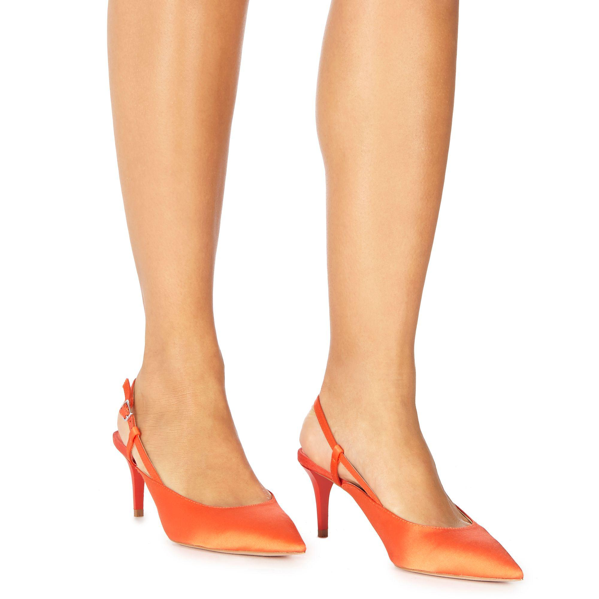 5c4255251ae Faith Orange Satin  casa  Mid Kitten Heel Slingbacks in Orange - Lyst
