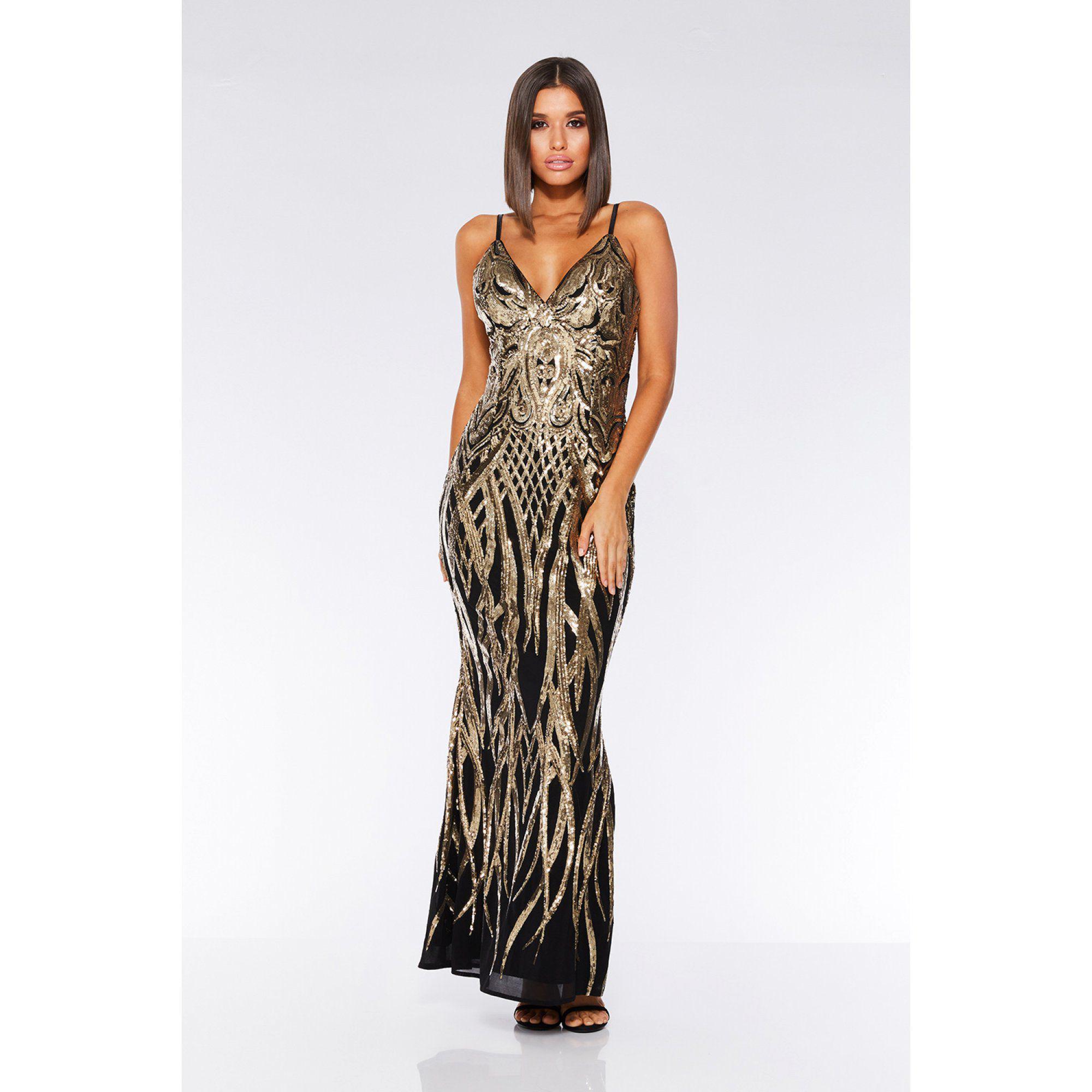 d61be8688e Black And Gold Sequin Fishtail Maxi Dress Quiz