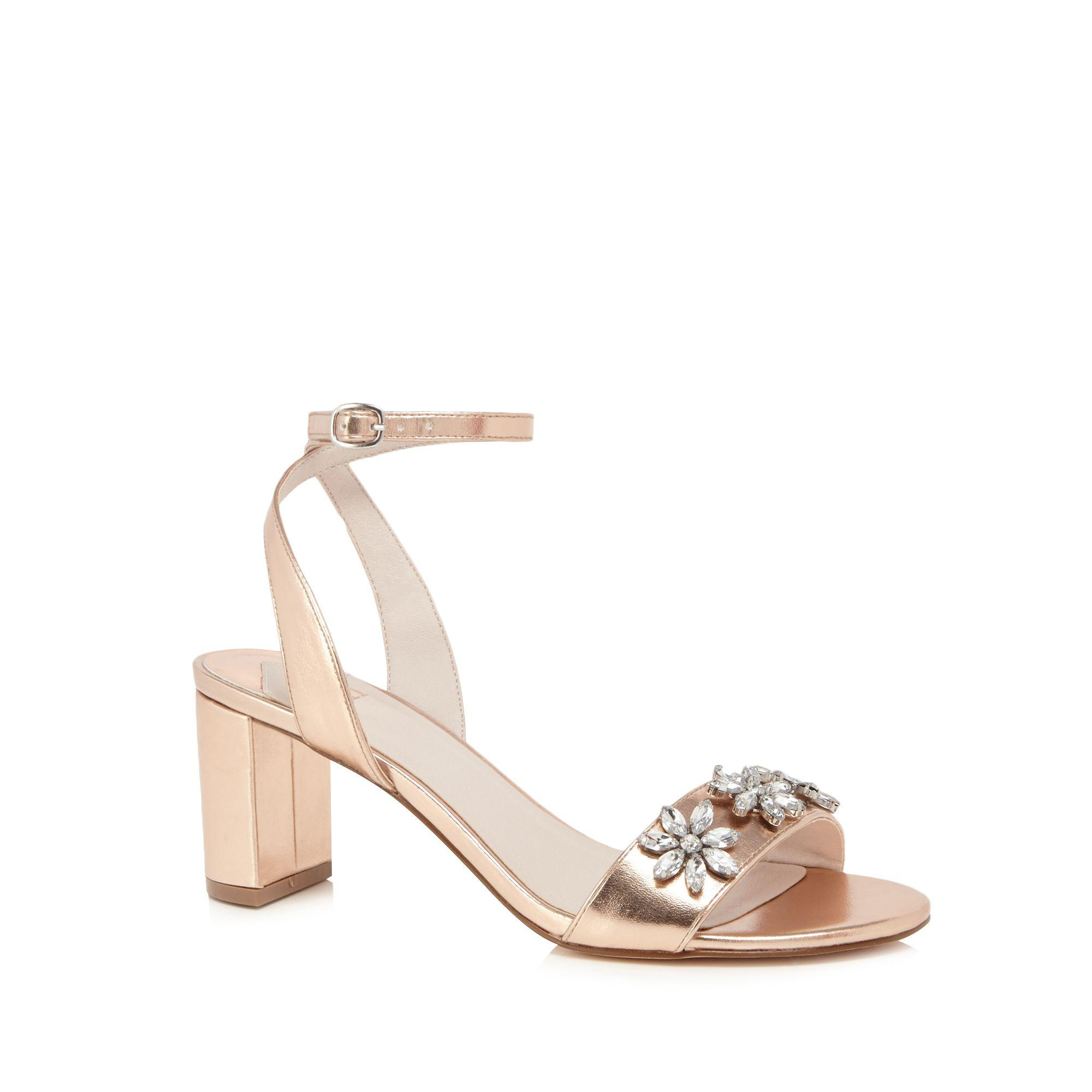 f4be9757328 Faith Rose Gold  dom-zal  Mid Block Heel Ankle Strap Sandals in Pink ...